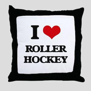 I Love Roller Hockey Throw Pillow
