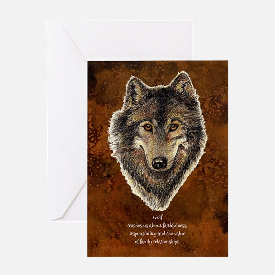 Wolf Totem Animal Guide Watercolor Nature Art Gree