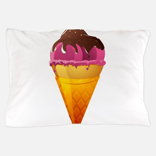 Strawberry Ice Cream Cone with Chocola Pillow Case
