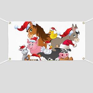 CUTE Farm Animal Christmas Banner