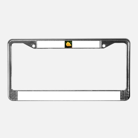 Rose yellow 001 License Plate Frame
