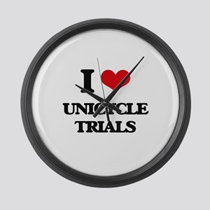 I Love Unicycle Trials Large Wall Clock