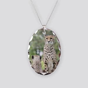 Cheetah002 Necklace Oval Charm