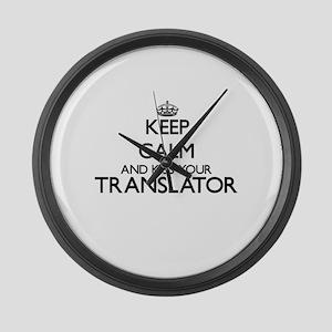 Keep calm and kiss your Translato Large Wall Clock