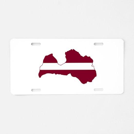 LatviaFlagMap Aluminum License Plate
