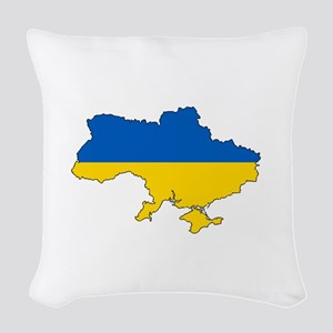 Ukraine Flag and Map Woven Throw Pillow