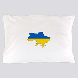 Ukraine Flag and Map Pillow Case