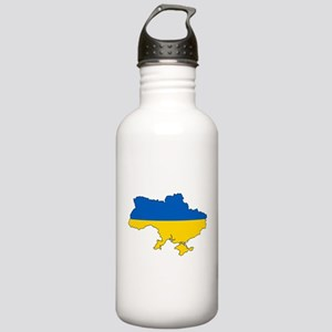 Ukraine Flag and Map Water Bottle