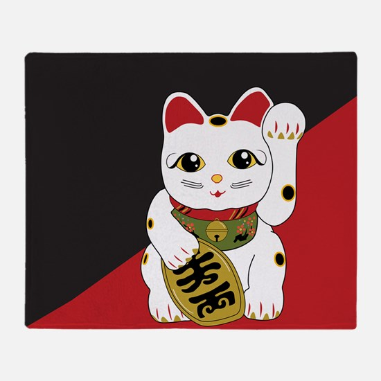 Cute Maneki neko Throw Blanket