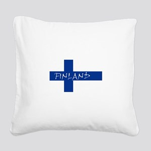 Finnish Flag Square Canvas Pillow