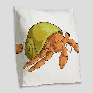 Hermit Crab Burlap Throw Pillow