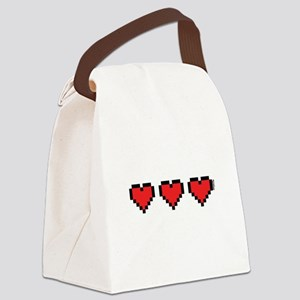 3 Hearts Canvas Lunch Bag