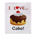 I Love Cake Throw Blanket