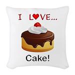 I Love Cake Woven Throw Pillow