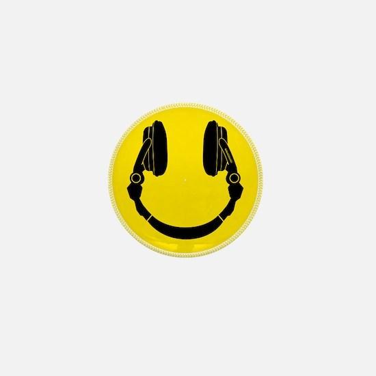 DJ Headphones Smiley Mini Button