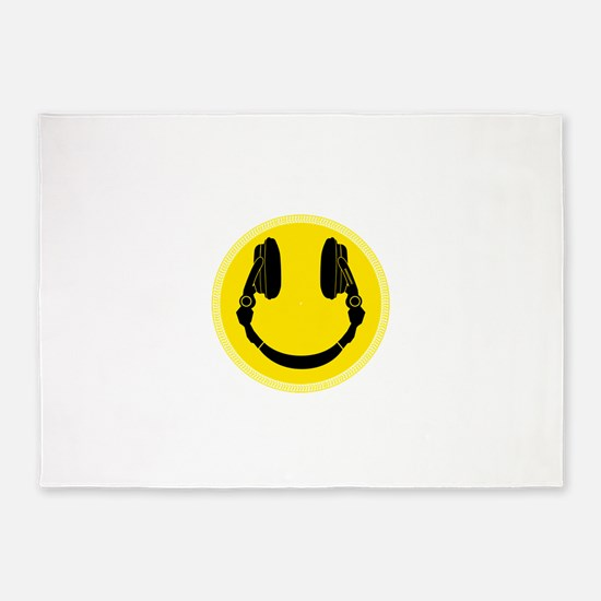 DJ Headphones Smiley 5'x7'Area Rug