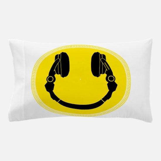 DJ Headphones Smiley Pillow Case