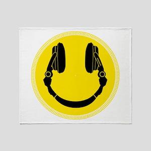 DJ Headphones Smiley Throw Blanket