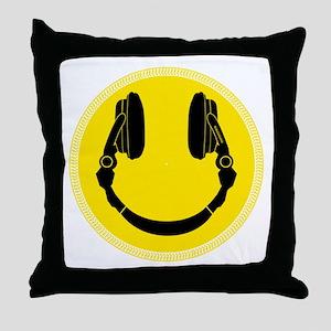DJ Headphones Smiley Throw Pillow