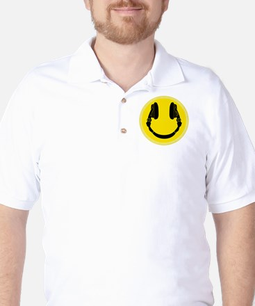 DJ Headphones Smiley Golf Shirt