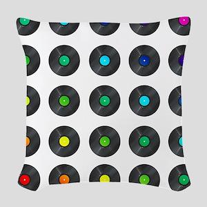 Vinyl Record Wall Art Woven Throw Pillow