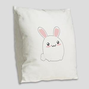 Fat Kawaii Bunny Burlap Throw Pillow