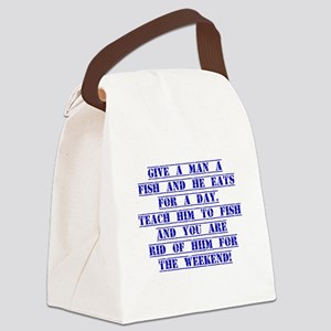 Give A Man A Fish Canvas Lunch Bag