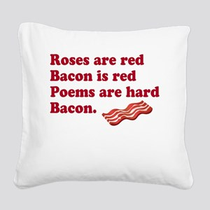 Bacon Poem Square Canvas Pillow