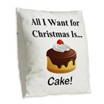 Christmas Cake Burlap Throw Pillow