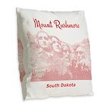 Mount Rushmore Burlap Throw Pillow