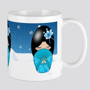Winter Blues Kokeshi Doll Mug Mugs