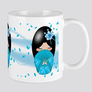 Blue Kokeshi Doll Trio Mug Mugs