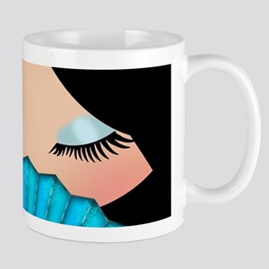 Kokeshi Doll Face In Blues Mug Mugs