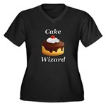 Cake Wizard Women's Plus Size V-Neck Dark T-Shirt