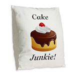 Cake Junkie Burlap Throw Pillow