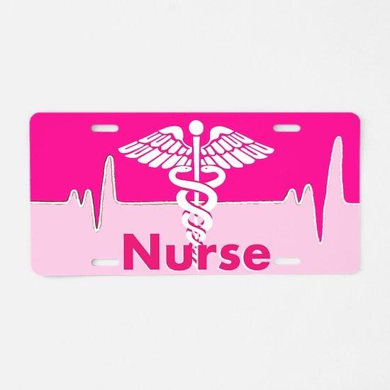 Nurse Pink Heartbeat Aluminum License Plate