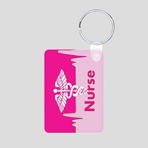 Nurse Pink Heartbeat Aluminum Photo Keychains