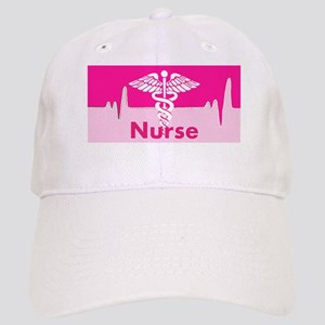 Nurse Pink Heartbeat Baseball Cap