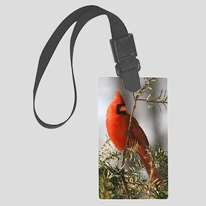 Winter Cardinal Large Luggage Tag