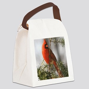 Winter Cardinal Canvas Lunch Bag