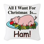 Christmas Ham Woven Throw Pillow