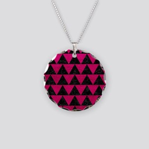 TRIANGLE2 BLACK MARBLE & PIN Necklace Circle Charm