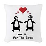 Love For Birds Penguins Woven Throw Pillow
