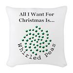 Christmas Peas 2 Woven Throw Pillow
