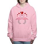 Flamingo Hearts Women's Hooded Sweatshirt