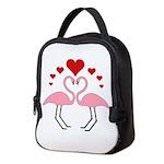 Flamingo Hearts Neoprene Lunch Bag