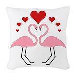 Flamingo Hearts Woven Throw Pillow