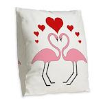 Flamingo Hearts Burlap Throw Pillow