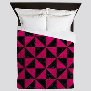 TRIANGLE1 BLACK MARBLE & PINK LEATHER Queen Duvet