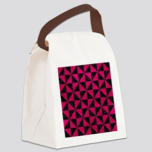 TRIANGLE1 BLACK MARBLE & PINK LEA Canvas Lunch Bag